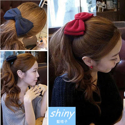 【17A10】shiny藍格子-甜美女孩.大蝴蝶彈簧結髮夾