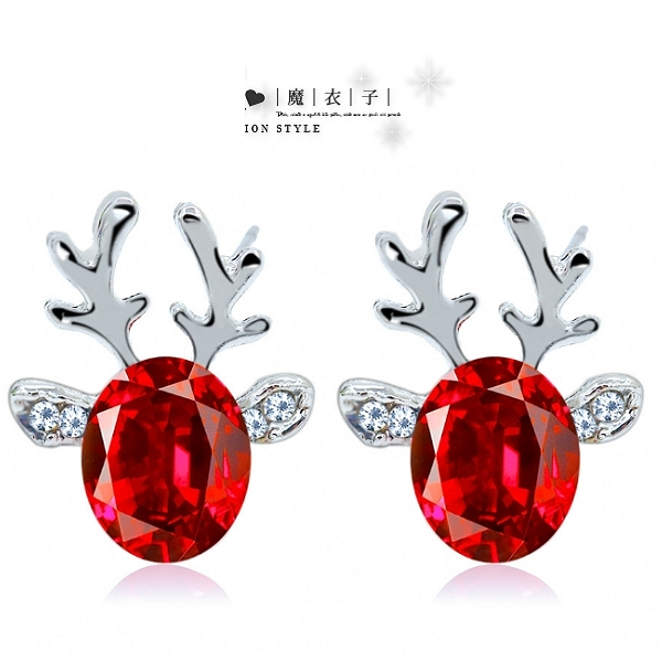 【Q23A86】魔衣子-立體聖誕馴鹿水晶寶石鹿角耳環
