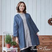 【Tiara Tiara】長版單釦罩衫外套(直紋/單色)