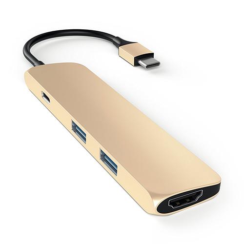 【美國代購】Satechi 鋁合金 Type-C Hub with Charging Port, 4K HDMI for MacBook 12/MBP 2016-Gold