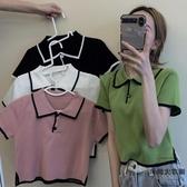 夏季短款修身Polo衫短袖女裝打底針織衫內搭上衣【時尚大衣櫥】