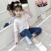 女童衛衣 2018秋裝新款女童衛衣中大童韓版條紋長袖上衣兒童洋氣寬松套頭衫 霓裳細軟