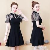 胖妹妹大碼女裝夏2021新款旗袍改良赫本風小黑裙高腰蕾絲洋裝女 極簡雜貨
