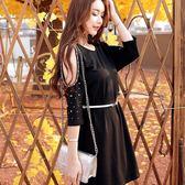 98522-QF中大尺碼*圓領釘珠露肩性感針織蝙蝠袖寬鬆連衣裙洋裝(附腰帶)~美之札