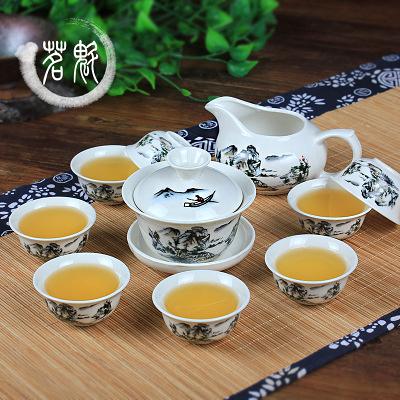 茶具套裝 功夫茶具陶瓷茶杯套裝白瓷整套青花瓷茶杯蓋碗茶具WY 快速出貨