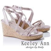 ★2018春夏★Keeley Ann甜美氣息~韓系緞面簡約交叉環繞楔形涼鞋(粉紅色) -Ann系列