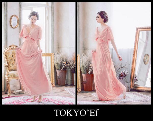 東京衣服 清晨微風 深V露背 開叉雪紡短袖 高腰長禮服 粉橘
