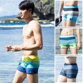 新款男士泳褲平角時尚速幹運動寬鬆低腰競速大碼性感溫泉泳衣  晴光小語