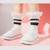 童襪 復古 條文 蕾絲 素色款 棉質 透氣 短襪 GIRL 單款 寶貝童衣