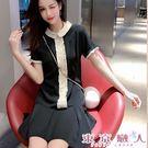 短袖洋裝 韓版木耳邊娃娃領學院風連衣裙★東京戀人MS.Q★8907