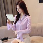 秋季OL氣質雪紡繫帶襯衫顯瘦純色上衣5530GT5F524-A紅粉佳