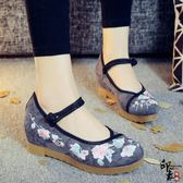 中國風復古繡花鞋女布鞋內增高單鞋牛筋底漢服鞋子【印象閣樓】