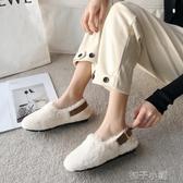 豆豆鞋網紅毛毛鞋女冬外穿新款潮鞋百搭超火懶人一腳蹬平底豆豆單鞋 扣子小鋪