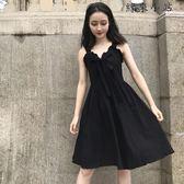 中長款壓褶吊帶裙氣質連身裙