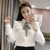 2018秋季正韓POLO領長袖蕾絲花邊拼接襯衫女純色單排扣襯衣上衣潮