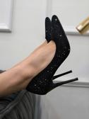 高跟鞋女細跟尖頭黑色職業網紅百搭法式少女性感單鞋 安妮塔小舖