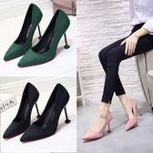 黑色女鞋絨面尖頭 細跟中跟高跟鞋磨砂工作鞋貓跟單鞋女 錢夫人小鋪