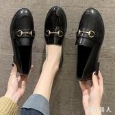 英式風小皮鞋女2020新款春季學生百搭黑色一腳蹬ins粗跟中跟單鞋 HR344【極致男人】