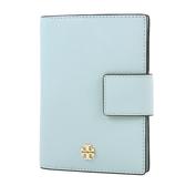美國正品 TORY BURCH 金屬LOGO防刮皮革釦式護照夾-灰藍色【現貨】
