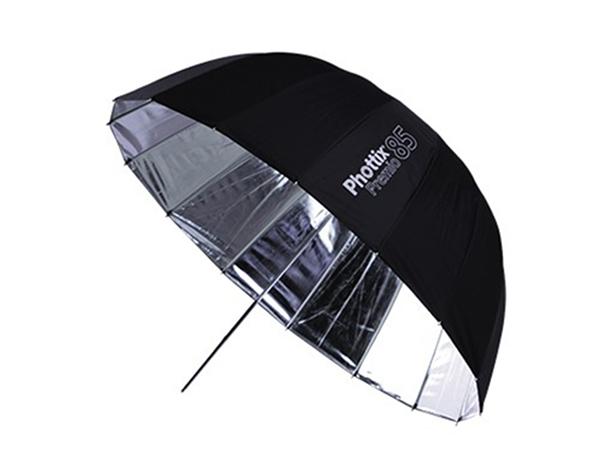 呈現攝影-Phottix Premio Reflective 85cm柔光傘組 附柔光布 16根玻纖骨 半圓弧 外黑內銀