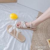 涼鞋女仙女風潮2020新款夏季時尚百搭網紅學生女士平底羅馬鞋