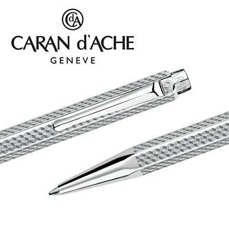 【預購,請先來電洽詢庫存】CARAN d'ACHE 瑞士卡達 ECRIDOR 艾可朵幾何麥紋原子筆(鈀金) / 支