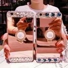三星 A8 2018 A8+ 2018 A7 2017 鏡面水晶支架殼 手機殼 支架 貼鑽殼 鏡面 軟殼