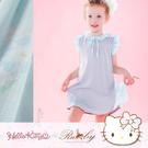 洋裝 Hello Kitty x Ruby 聯名款-荷葉領刺繡百褶雪紡假兩件短袖洋裝(童)-Ruby s 露比午茶