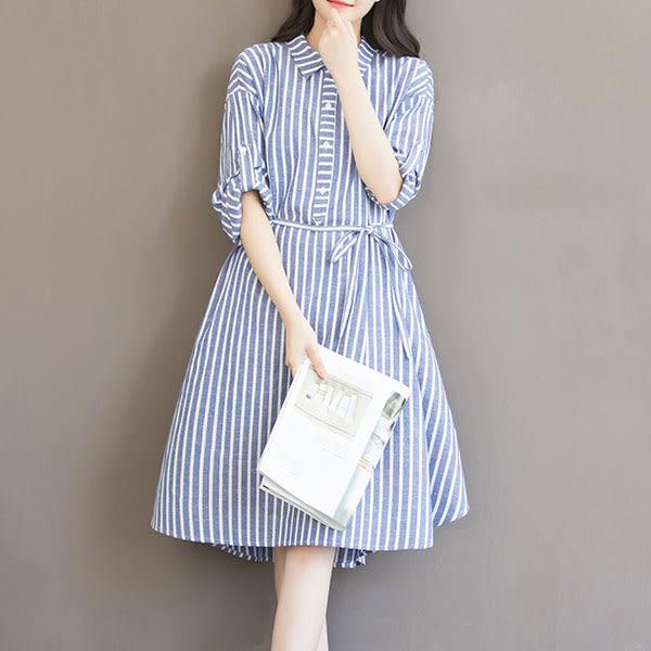 新款時尚寬鬆 條紋洋裝 連身裙 D091a ◆ 韓妮小熊