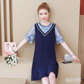 中大尺碼洋裝2020夏新款胖mm洋氣寬鬆顯瘦蕾絲拼接時尚潮流連身裙女 yu12114『俏美人大尺碼』