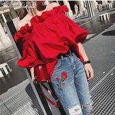 女裝紅色一字肩上衣夏女寬鬆短袖荷葉邊露肩海邊度假沙灘「Chic七色堇」