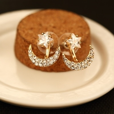 耳環 玫瑰金純銀鑲鑽-繽紛月亮生日情人節禮物女飾品73ca177【時尚巴黎】