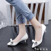 小跟鞋女單鞋淺口春季新款4cm中跟鞋尖頭矮跟細跟黑色工作鞋  時尚潮流