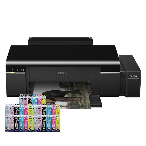 【搭T673原廠墨水六色5組】EPSON L805 六色CD無線原廠商用連續供墨印表機