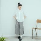 Queen Shop【04060325】格紋棉質鬆緊寬褲裙*現+預*