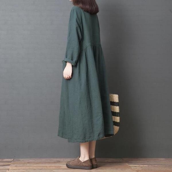 文藝范女裝大碼遮肚連身裙春季減齡洋氣韓版寬鬆時尚亞麻收腰襯衫