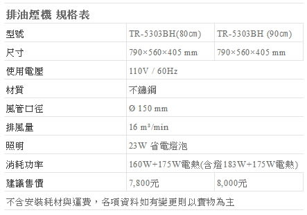 【fami】莊頭北 排除油煙機 斜背式 TR-5303BH(80㎝)  斜背式排油煙機(電熱除油)