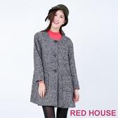 RED HOUSE-蕾赫斯-黑白毛料雙口袋大衣(經典黑)