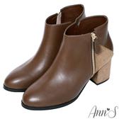 Ann'S丹麥時尚-幾何拼接絨布粗跟短靴-咖啡