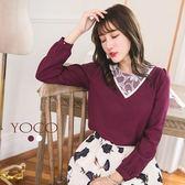 東京著衣【YOCO】領口拼接網紗蕾絲上衣-S.M(6023407)