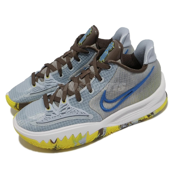 Nike 籃球鞋 Kyrie Low 4 EP Light Armory Blue 藍 灰 黃 低筒 Irving 男鞋 KI4 【ACS】 CZ0105-400