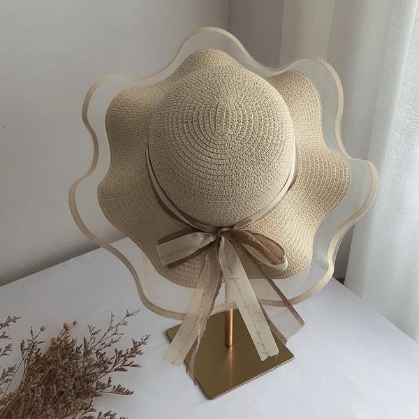 草帽女夏天沙灘海邊出游遮陽渡假防曬大帽檐大沿涼帽網紅太陽帽子 夢幻小鎮