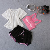 運動套裝 2018新款短褲跑步健身房韓國瑜伽三件套夏季健身服