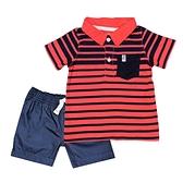【北投之家】男寶寶套裝二件組 POLO杉上衣+短褲 紅條紋 | Carter s卡特童裝 (嬰幼兒/兒童/新生兒)