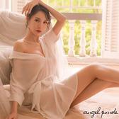天使波堤【LD0188】低胸扭結綁帶超薄雪紡襯衫蕾絲罩衫居家睡衣連身大尺碼網襪吊帶襪黑色白色