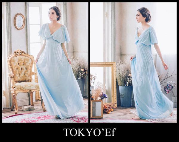 東京衣服 清晨微風 深V露背 開叉雪紡短袖 高腰長禮服 天藍