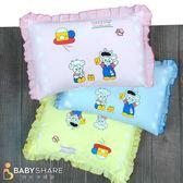 BS貝殼【COWA208】台灣製 動物圖案花邊寶寶枕 可拆洗式信封枕套 新生兒必備 枕頭