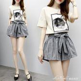 夏季新款小香風寬鬆短袖t恤上衣女條紋闊腳短褲兩件時尚套裝   蜜拉貝爾