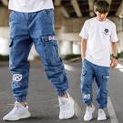韓國製BKLB重磅牛仔褲寬版縮口褲工裝褲...