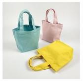 簡約糖果色韓國小清新學生手拎飯盒袋男女小號純色手提帆布便當包 蘑菇街小屋